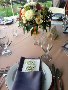 Gorgeous centerpieces and personal menu cards.