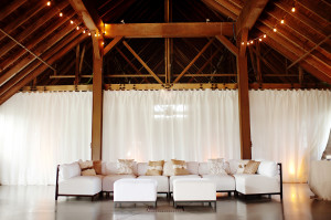 Fabulous personal touches graced the barn with sleek seating.
