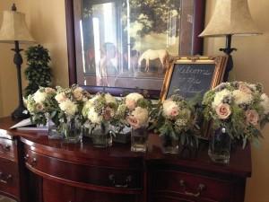 Bridal party bouquets inside the Ashley Inn.