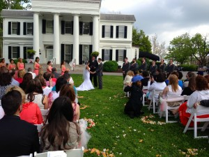 Ceremony on the front lawn.