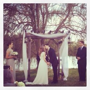 Ceremony by the pond.