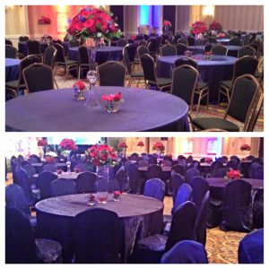 Room before Chair Covers and Room After Chair Covers.  What a difference they make!