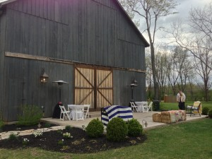 view from outside the barn, wedding reception inside
