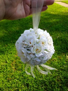 silk flower kissing ball rose