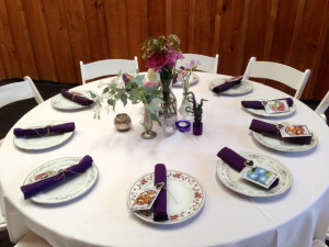 Each table scape was different with vessels hand selected by the bride.