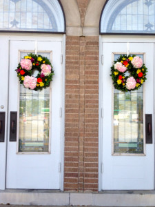 Fresh floral wreaths greeted guests as they arrived.
